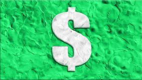 Clay dollar sign cartoon handmade animation seamless loop background ... New quality universal vintage stop motion. Currency signs dance handmade cartoon stock video footage