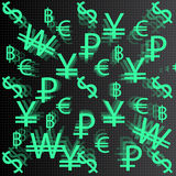 Currency signs on a dark background. Of geometric vector illustration royalty free illustration
