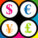 The currency signs of Dollar, Euro, Pound and Yen. Stock Images