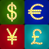 Currency signs Dollar Euro Pound Yen Gr Badge  light background Stock Image
