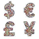 Currency signs, dollar, euro, yen, pound sterling. Set colorful icons of doodles patterns. Royalty Free Stock Images