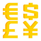 Currency signs euro, dollar, pound sterling, yen Stock Images