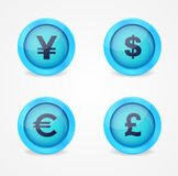 Currency signs on glossy icons. Vector icons Stock Image