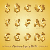 Currency Signs Gold illustration and  background Stock Photos