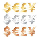 currency sings in gold, silver and bronze Royalty Free Stock Photography