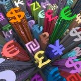 Currency Skyscraper colored Stock Photo