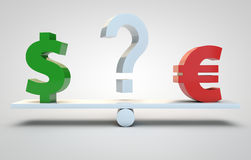 Currency speculation - dollar and euro Royalty Free Stock Photo