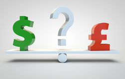 Currency speculation - dollar and pound Royalty Free Stock Image