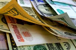 Currency speculation the ruble dollar. Currency speculation Russian ruble US dollar Royalty Free Stock Photo