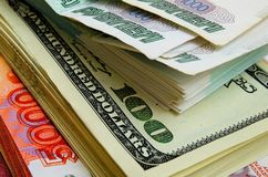 Ruble-dollar сurrency speculation. Currency speculation on the ruble-dollar exchange Stock Photos