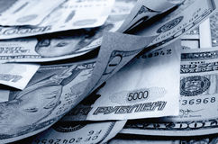 Currency speculation the ruble dollar. Royalty Free Stock Photos