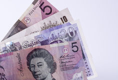 Currency. Sterling pound and Australian dollar currency isolated Royalty Free Stock Photo