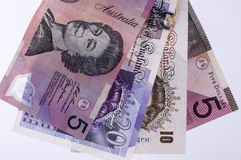 Currency. Sterling pound and Australian dollar currency isolated Stock Photo
