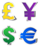Currency stickers Royalty Free Stock Image