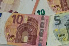 Euro banknotes let`s go stock photography