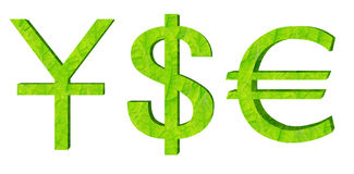 Currency symbol. Green 3D coin symbol isolated Royalty Free Stock Image