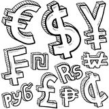 Currency symbol assortment sketch. Doodle style coin with currency symbol set including euro, dollar, yen, pound, cent, ruble, won, yuan, shekel, and franc Royalty Free Stock Photos