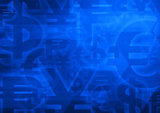 Currency symbol on bright blue for financial background Stock Photo