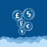 Currency symbol bubble on the cloud. Money currency symbol in bubble flying  high through the cloud Royalty Free Stock Photography