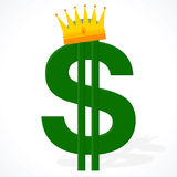 Currency symbol - dollar with a royal crown Stock Photography