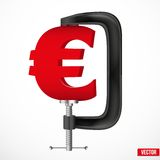 Currency symbol euro being squeezed in a vice Royalty Free Stock Images