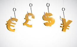 Currency symbol fishing concept illustration Royalty Free Stock Photo