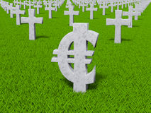 Currency symbol in the form of gravestones. Money symbol on the grass as the grave Vector Illustration