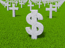 Currency symbol in the form of gravestones. Money symbol on the grass as the grave Royalty Free Illustration