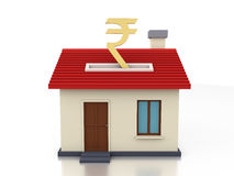 Currency Symbol with Home Model. 3D Rendering Image Royalty Free Stock Photography