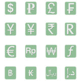 Currency symbol Icons. A set of some currency symbol icons for different currencies Stock Images