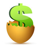Currency symbol inside egg profits concept Royalty Free Stock Photography