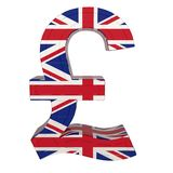 Currency symbol with national flag. UK Currency. 3d render isolated on white vector illustration