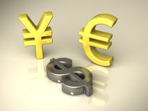 Currency symbols. Three currency symbols at floor royalty free illustration