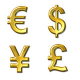 Currency symbols. Euro, dollar, yen, pound symbols with gold bevel - 4 in 1 Stock Image