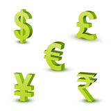 Currency Symbols. With Green color & white background royalty free illustration