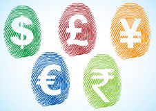 Currency symbols. Dollar, euro, pound, yen, rupee symbols on the thumbprint Stock Photo