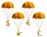 Currency symbols. On a parachute on a white background Stock Illustration