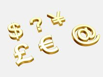 Currency Symbols. 3D render of six symbols Stock Photos