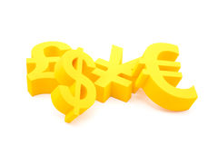 Currency symbols. Yellow currency symbols of euro, dollar, yen and pound Stock Photos