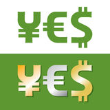 Currency symbols. Forming YES word Stock Photography