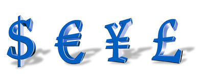 Currency Symbols. Colour vector symbols of the main world currencies Royalty Free Stock Images