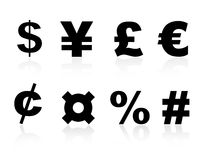 Currency symbols. Stylish currency symbols icon set including euro sign, percent sign, pound and number sign, dollar, cent, yen, currency Stock Photo