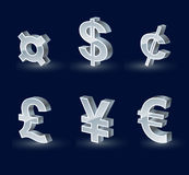 Currency symbols. Three-dimensional glossy silver-plated currency symbols Stock Image