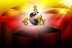 Currency symbols around earth Stock Photo
