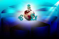 Currency symbols around earth Stock Images