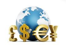 Currency symbols around the earth Stock Photos