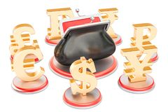 Currency symbols around the purse, 3D rendering Royalty Free Stock Images