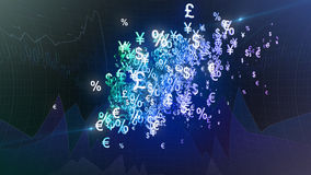 Currency symbols background. Abstract background with cloud of currency symbols Stock Photos