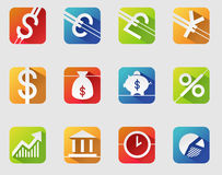 Currency symbols. Business and finance web icons set of currency symbols. long shadow, flat Stock Photos