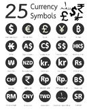 25 currency symbols, countries and their name around the world Royalty Free Stock Photography